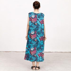 Summer Coloured Printed Round Neck Sleeveless Dress For Women