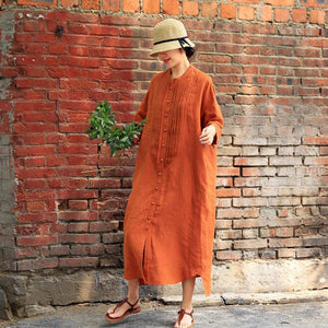 Summer Literary Single Breasted Linen Loose Shirt Dress