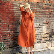 Load image into Gallery viewer, Summer Literary Single Breasted Linen Loose Shirt Dress