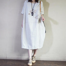 Laden Sie das Bild in den Galerie-Viewer, Summer Loose Embroidered Fishes Midi Dress
