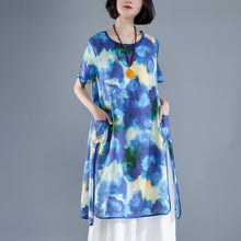 Load image into Gallery viewer, Short Sleeve Slit Summer Casual Printed Dress