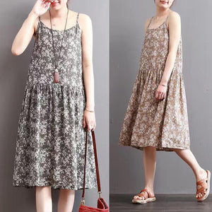 Summer O-Neck Sleeveless Floral Printed Slip Dress