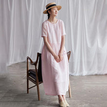 Laden Sie das Bild in den Galerie-Viewer, Summer Round Neck Back Lacing Pink Dress