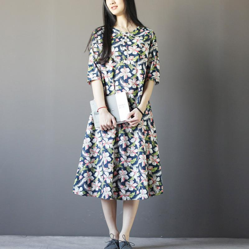 Summer afternoon floral maxi dress half sleeve cotton sundress