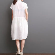 Load image into Gallery viewer, Summer white cotton dresses drawstring tunic cotton sundress