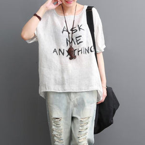 Summer white cotton tee shirt ask me anything