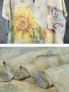 Sunflower V-Neck Loose Comfortabe Thin Dress