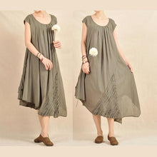 Load image into Gallery viewer, Tea green caftan dress cotton summer dress