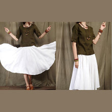 Load image into Gallery viewer, Tea green casual linen t shirt women line blouse half sleeve natural fabric plus size