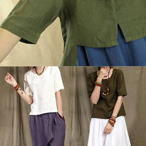 Tea green casual linen t shirt women line blouse half sleeve natural fabric plus size