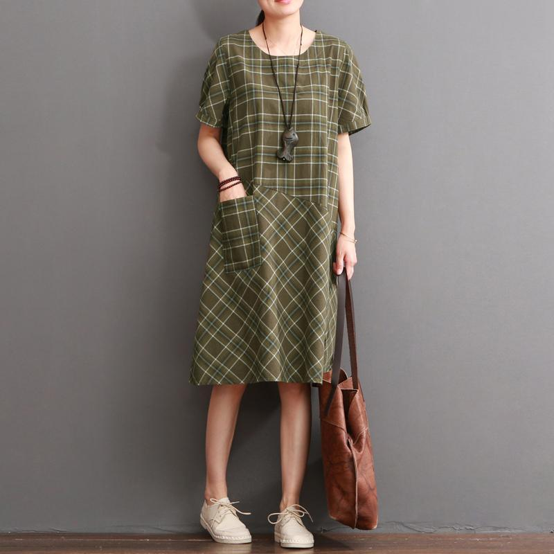 Tea green cotton dresses summer causal dress plus size sundresses