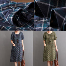 Laden Sie das Bild in den Galerie-Viewer, Tea green cotton dresses summer causal dress plus size sundresses