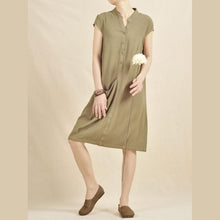 Laden Sie das Bild in den Galerie-Viewer, Tea green cotton shift dress linen sundress
