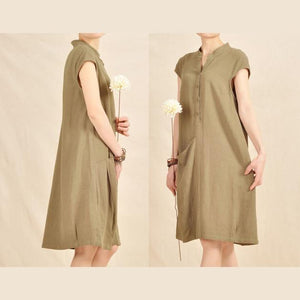 Tea green cotton shift dress linen sundress