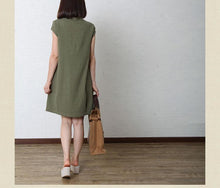 Laden Sie das Bild in den Galerie-Viewer, Tea green cotton sundress oversize summer linen dress