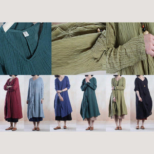 Tea green linen dress spring maxi dresses