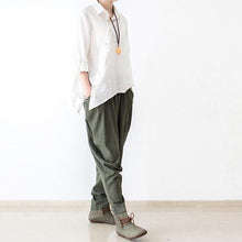 Load image into Gallery viewer, Tea green linen pants jodhpurs winter pants