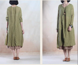 Tea green pleated linen gown long linen maxi dress vintage- when a leaf turns green