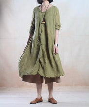 Laden Sie das Bild in den Galerie-Viewer, Tea green pleated linen gown long linen maxi dress vintage- when a leaf turns green