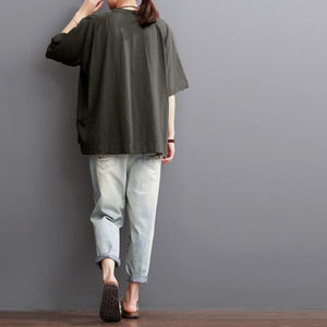 Tea green women summer cotton blouse plus size shirt