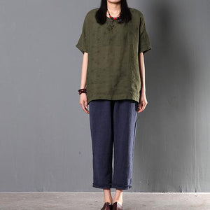 Tea green women summer linen blouse short top plus size shirt