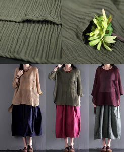 Tea green wrinkled linen t shirt women summer blouse plus size top