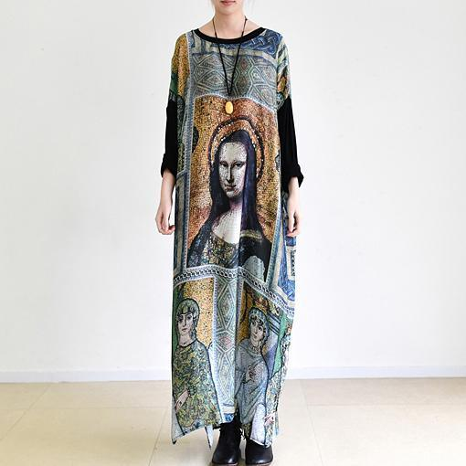 The Mona Lisa print maxi dresses oversized vintage long chiffon dress caftans