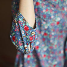Load image into Gallery viewer, The elegant Chinese style retro floral cotton dresses bracelet sleeve