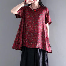 Load image into Gallery viewer, The endless universe floral oversize cotton blouse for summer plus size shirt blouse in ruby