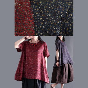 The endless universe floral oversize cotton blouse for summer plus size shirt blouse in ruby
