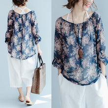 Load image into Gallery viewer, The old memories Navy floral cotton shirts thin long sleeve blouses cotton tops