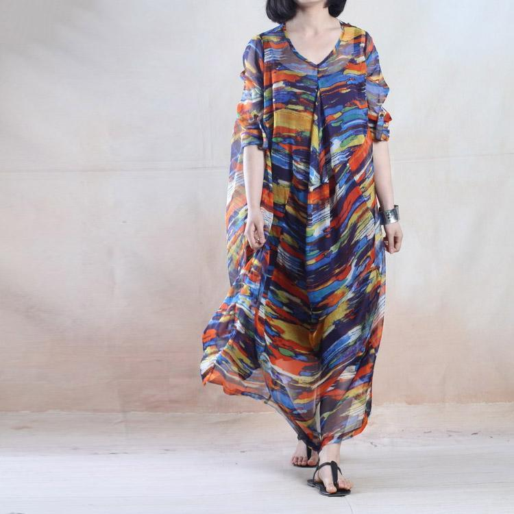The rainbow - floral summer maxi dress long plus size chiffon sundress two layers