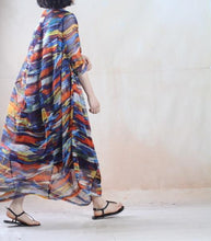 Load image into Gallery viewer, The rainbow - floral summer maxi dress long plus size chiffon sundress two layers