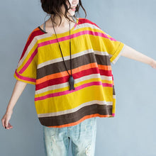 Load image into Gallery viewer, The rainbow linen blouses yellow striped plus size linen tops shirts