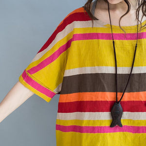 The rainbow linen blouses yellow striped plus size linen tops shirts
