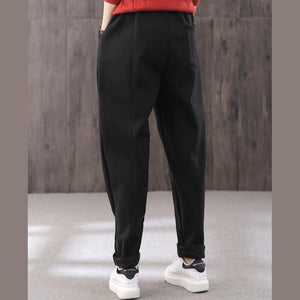 Thicken harem pants female elastic waist literary winter warm black casual pants