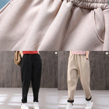 Load image into Gallery viewer, Thicken harem pants female elastic waist literary winter warm black casual pants