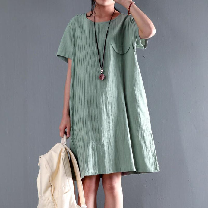 Top quality  light green linen sundress causal plus size summer shift dresses