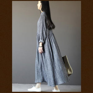 Top quality gray long sleeve linen dresses  plus size fall maternity dresses