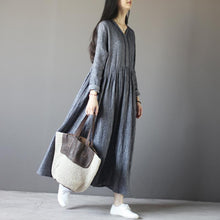 Load image into Gallery viewer, Top quality gray long sleeve linen dresses  plus size fall maternity dresses