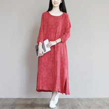 Load image into Gallery viewer, Top quality jacquard linen sundress long causal summer maxi dresses