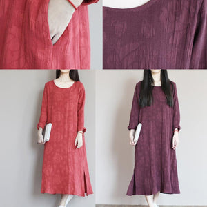 Top quality jacquard linen sundress long causal summer maxi dresses