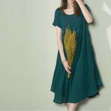 Load image into Gallery viewer, Top quality jade green linen sundress oversize summer shift dress loose caftan