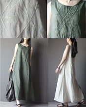 Load image into Gallery viewer, Top quality linen summer maxi dresses A line linen traveling clothing