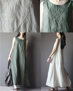 Top quality linen summer maxi dresses A line linen traveling clothing