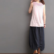 Load image into Gallery viewer, Top quality nude line tank top wrinkled linen blouse shirt