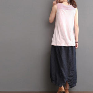 Top quality nude line tank top wrinkled linen blouse shirt
