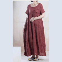 Load image into Gallery viewer, Top quality summer linen maxi dress long pleated sundress minimalist dress Burgundy