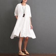 Load image into Gallery viewer, Top quality white cotton dresses for summer plus size cotton sundress