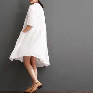 Top quality white cotton dresses for summer plus size cotton sundress